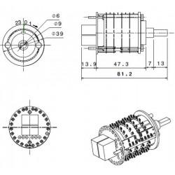 ALLO Potentiomètre Commuté 24 Positions 4 Pôles Ø6mm Axe méplat 10K