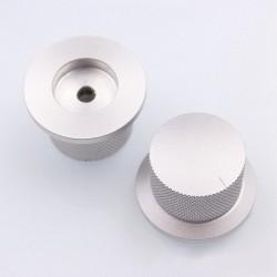 Bouton aluminium 38x25mm Silver Axe méplat Ø6mm