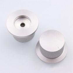 Knob Aluminium D Shaft 38x25mm Ø6mm Silver