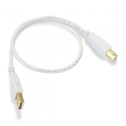 Câble USB-A Male / USB-B Male 2.0 Connecteurs Plaqués Or 0.45m Blanc