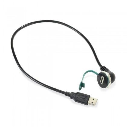 Panel Mount USB-A Male to USB-A Female Black 0.5m