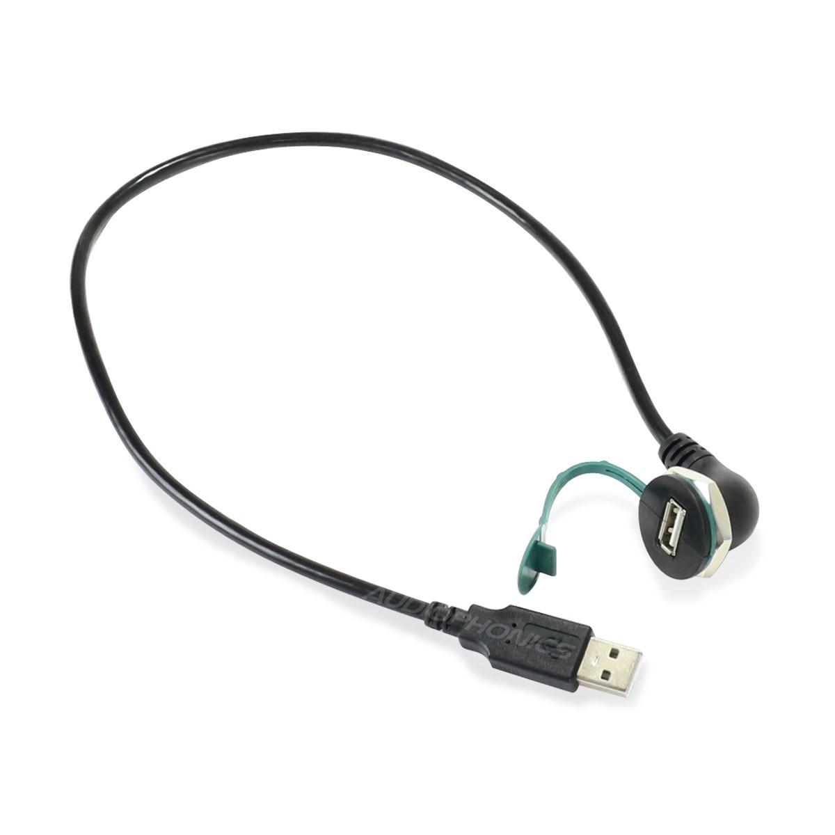 Passe Cloison USB-A 2.0 Mâle vers USB-A 2.0 Femelle Coudé Noir 0.5m
