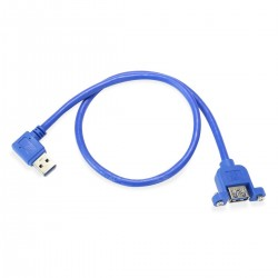 Panel Mount USB-A 3.0 Male to USB-A 3.0 Female Blue 0.5m
