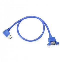 Passe Cloison USB-A 3.0 Mâle vers USB-A 3.0 Femelle Bleu 0.5m