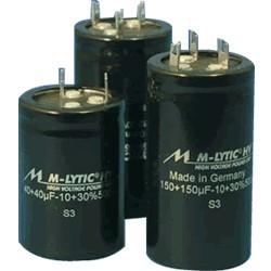 Mundorf M-Lytic HV 500V Capacitor. 100 + 100μF