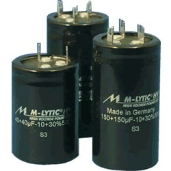 Mundorf M-Lytic HV 500V Capacitor. 200 + 200μF