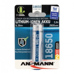 ANSMANN ANS 18650 PCB Lithium-Ion 18650 Rechargeable Battery 3.6V 2600mAh