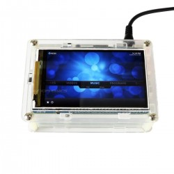 "Raspberry Pi 3 Hi-Res Screen 800x400px 3.5"" with Transparent Acrylic Case"