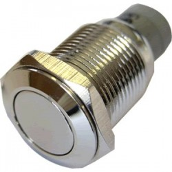 Push button stainless steel silver 250V 3A Ø16mm