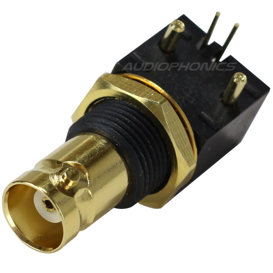 Embase BNC Femelle 75 Ohm pour PCB plaquée OR Ø12mm (Unité)
