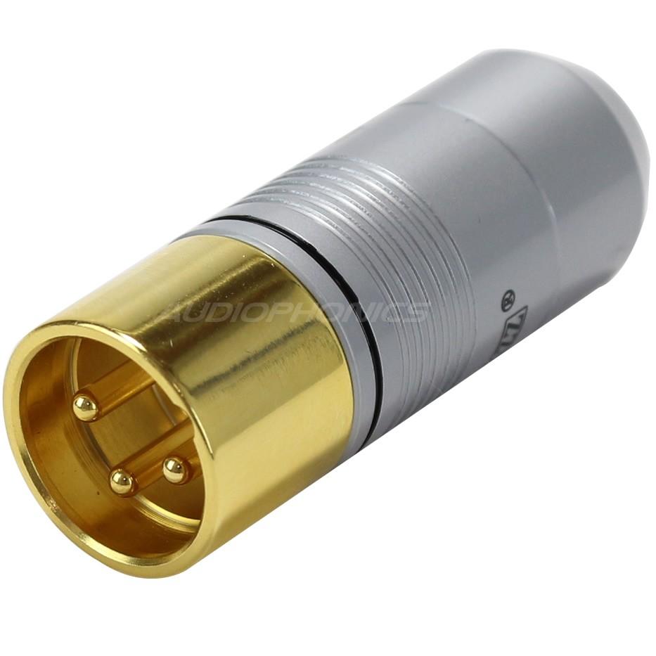 EIZZ XLR Connecteur XLR Mâle 3 Pôles PTFE Plaqué Or Ø 9mm Noir (Unité)