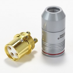 EIZZ XLR Connecteur XLR Femelle 3 pins PTFE plaqué Or Ø 9mm Rouge (L'unité)