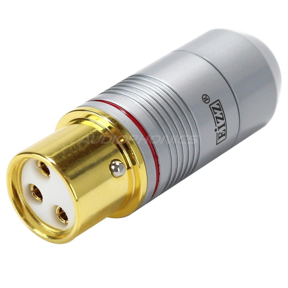 EIZZ XLR Connecteur XLR Femelle 3 Pôles PTFE Plaqué Or Ø9mm Rouge (Unité)