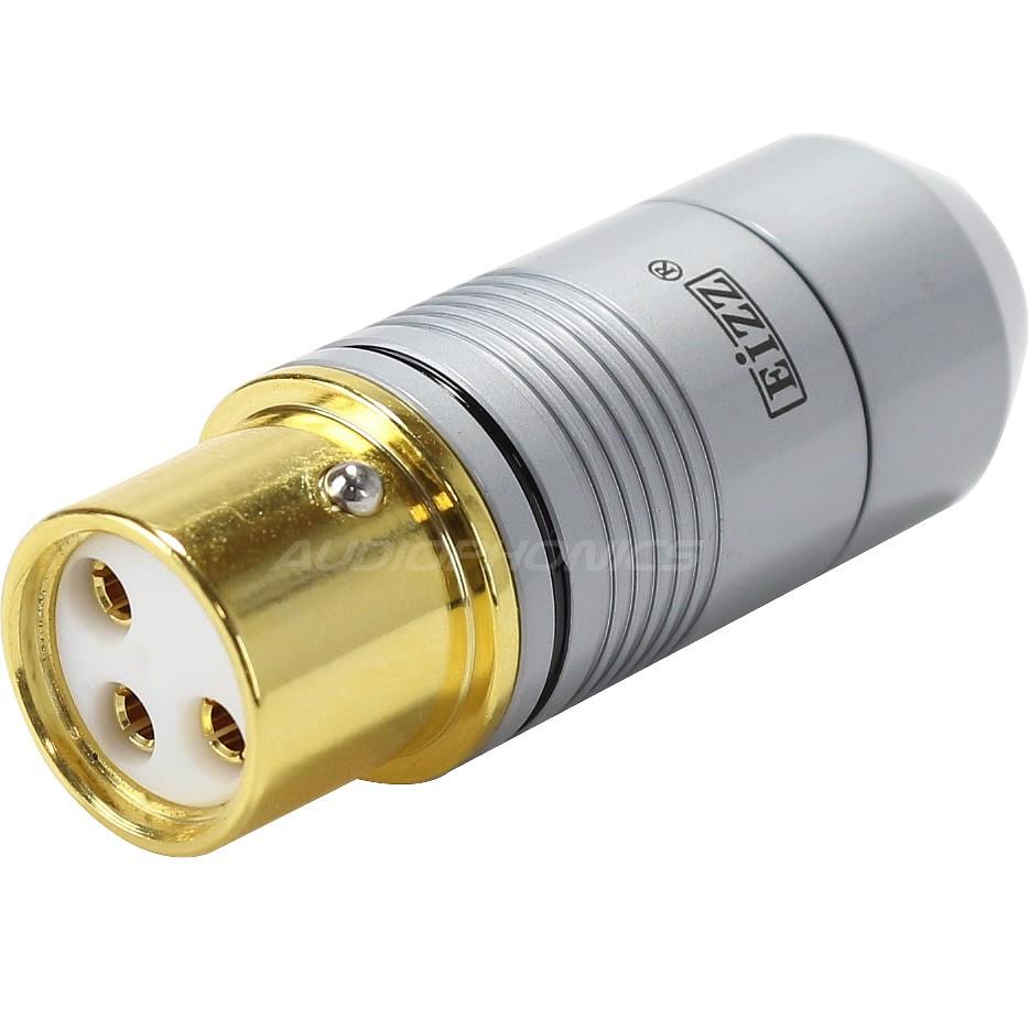 EIZZ XLR Connecteur XLR Femelle 3 Pôles PTFE Plaqué Or Ø 9mm Noir (Unité)