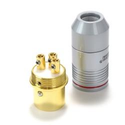 EIZZ XLR Connecteur XLR mâle 3 pins PTFE plaqué Or Ø 9mm Rouge (L'unité)