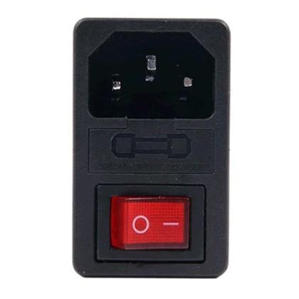 Embase IEC + Porte fusible + Interrupteur + Fusible 5A