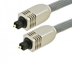 Toslink SPDIF optical fiber 1.8m metal connectors and sheathing