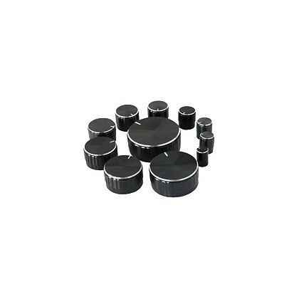 Assortiment de 11 boutons noirs Axe cranté Ø6mm