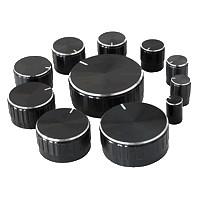 Assortiment de 11 Boutons Axe cranté Ø6mm Noir