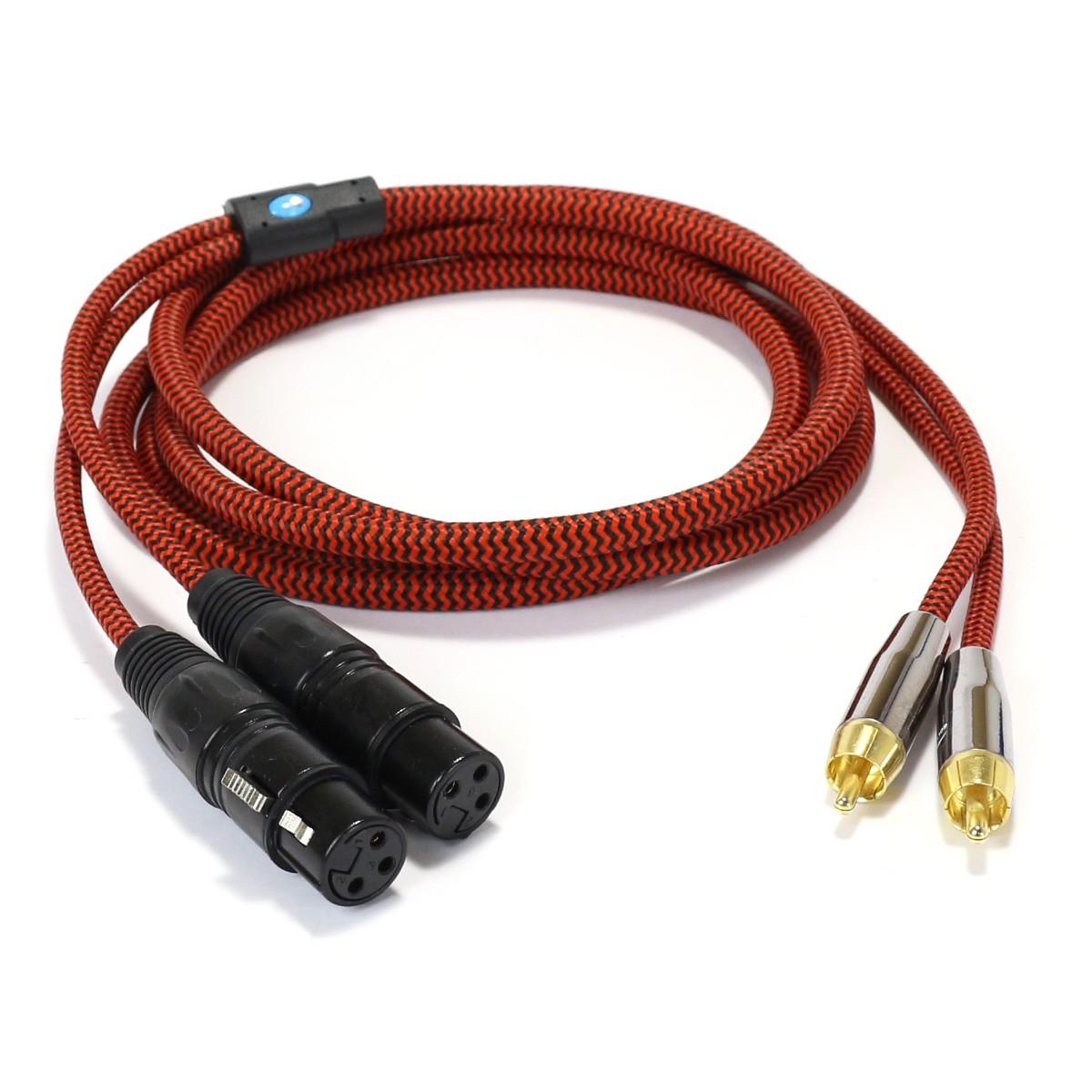 CYK Câble de modulation stéréo RCA - XLR femelle Cuivre OFC plaqué Or 24K 2m