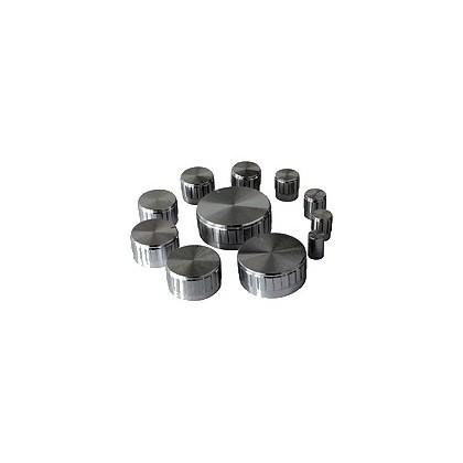 Assortiment de 11 boutons silver Axe cranté Ø6mm