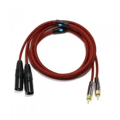 CYK Câble de modulation stéréo RCA - XLR mâle Cuivre OFC plaqué Or 24K 2m