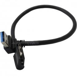Câble Micro USB-B Femelle / Micro USB-B Mâle coudé Double blindage 25cm