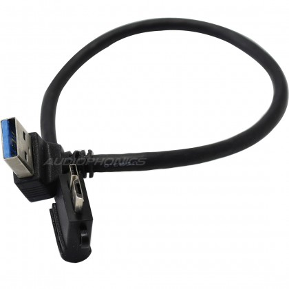 Câble USB 3.0 USB-A mâle coudé vers Micro-USB3 type B mâle 20cm