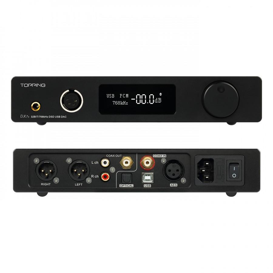 TOPPING DX7s 2xES9038Q2M DAC / Preamplifier / Headphone ampli DSD 32bit /  768kHz Balanced Black - Audiophonics