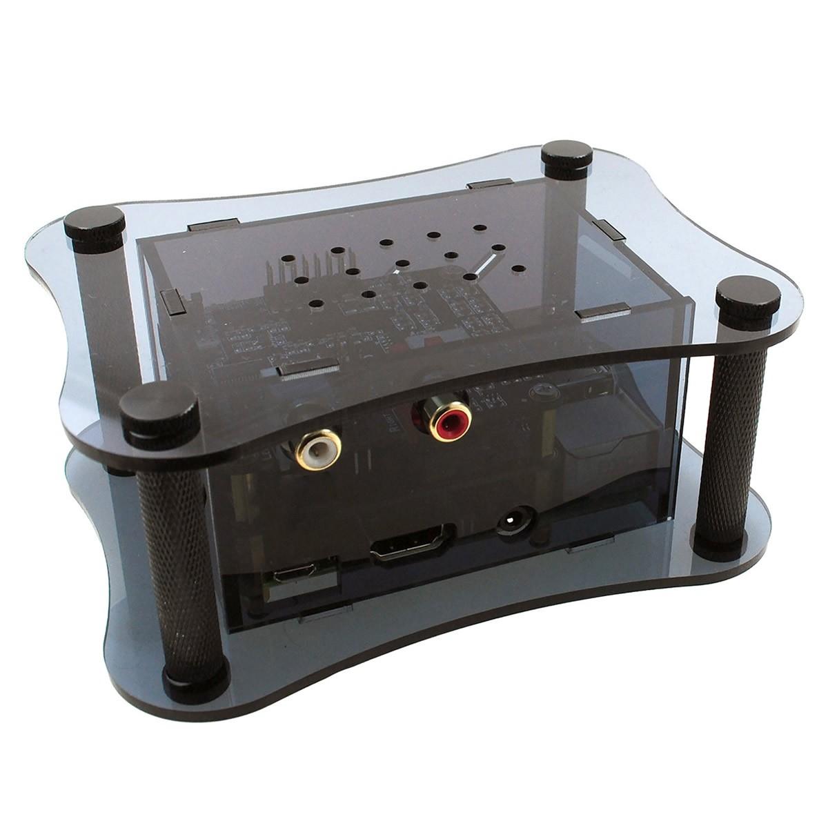 ALLO Boîtier acrylique pour Raspberry Pi 2 / 3 & DAC Boss & Isolator Noir