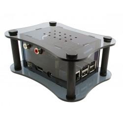 ALLO RPI + BOSS + ISOLATOR CASE Boîtier pour Raspberry Pi 2 / 3 & DAC Boss & Isolator Noir