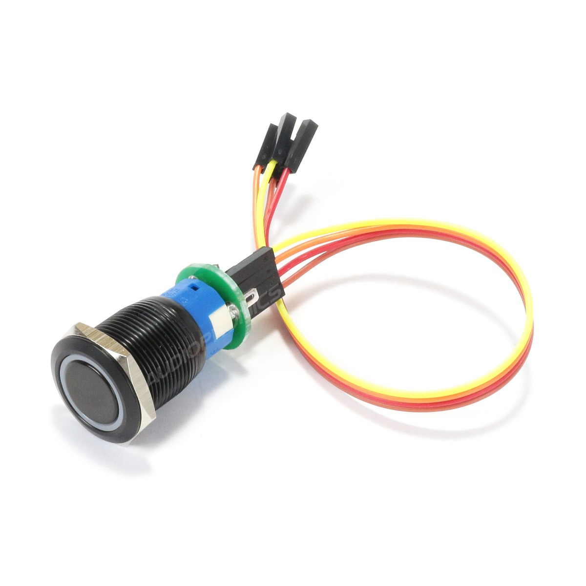 Aluminium Push Button and Pre-Welded Connector with Blue Light Circle Ø19mm Black