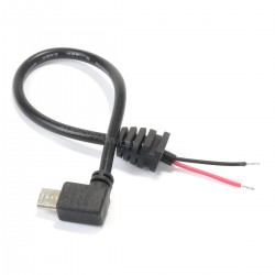 Angled Male Micro USB Power Cable Raspberry Pi 0.1mm² 20cm