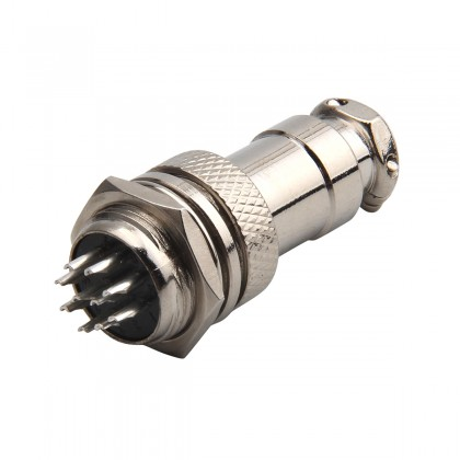 Snap-Fit GX16 Plug 10 Pin Silver Plated Copper 125V 4A Ø 7.5mm
