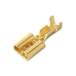Cosse femelle 6.3mm Plaquée Or Ø 3mm (Set x10)
