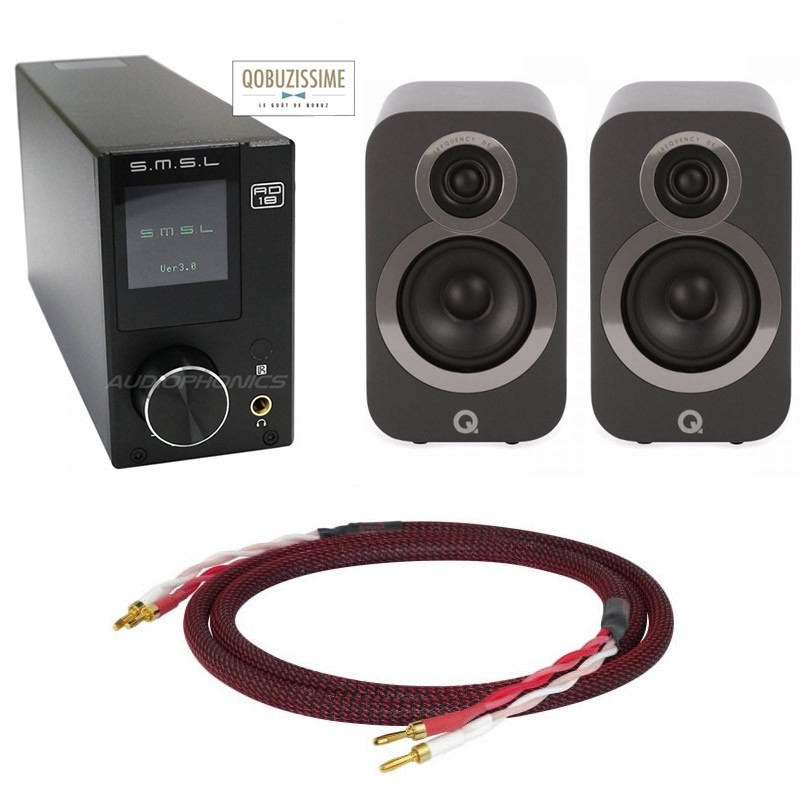 Pack SMSL AD18 V3 FDA / Enceintes Q ACOUSTICS 3010i / Câbles HP OFC 24K 2m