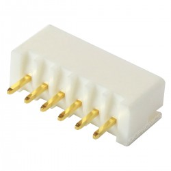 Connecteur Embase XH 2.54mm Mâle 6 Voies Plaqué Or Blanc (Unité)