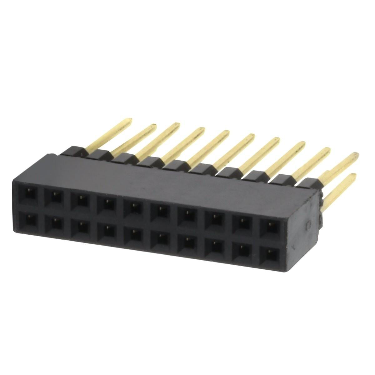 Connecteur Barrette 2.54mm Mâle / Femelle 2x10 Pôles 11mm (Unité)