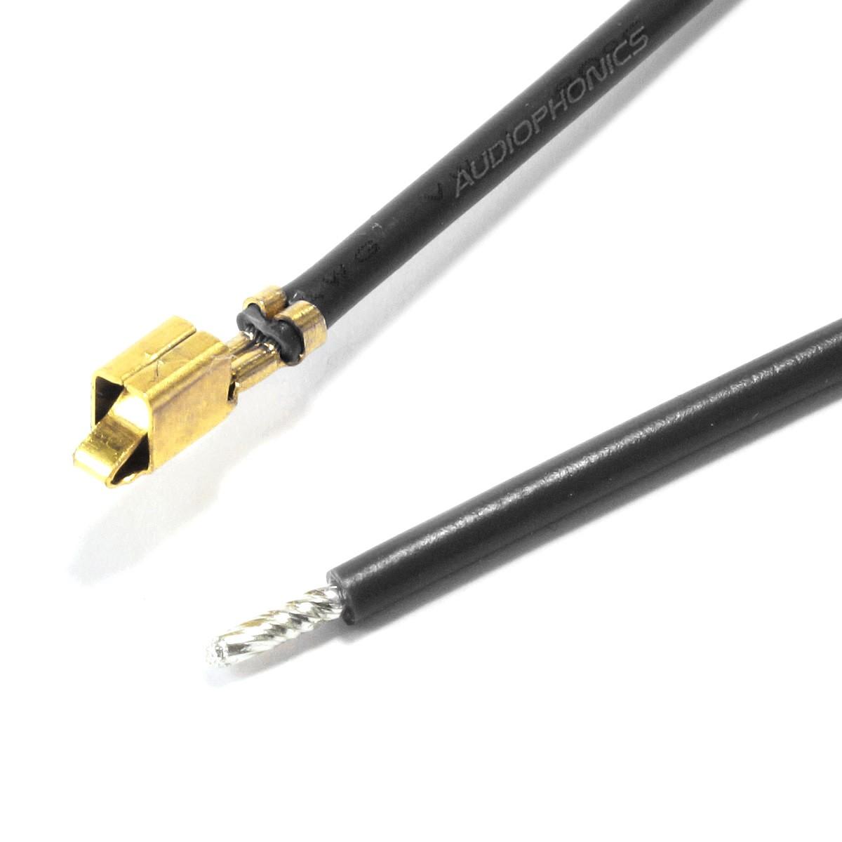 Câble VH 3.96mm Femelle vers Fil Nu Sans Boîtier 1 Pôle Plaqué Or 30cm Noir (x10)