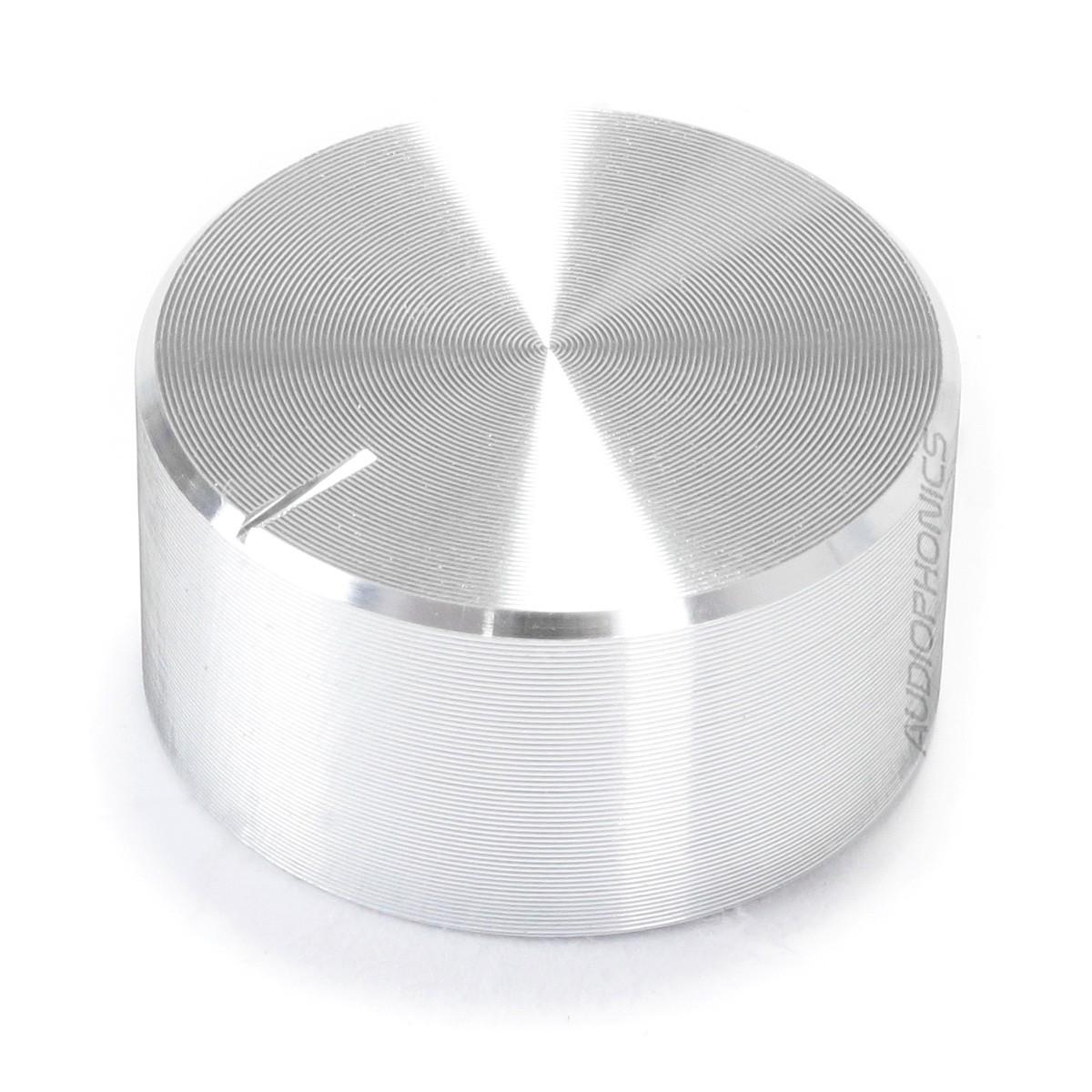 Knob Aluminium Notched Shaft 25x13mm Ø6mm Silver