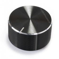 Bouton Aluminium Axe Cranté 25x13mm Ø6mm Noir