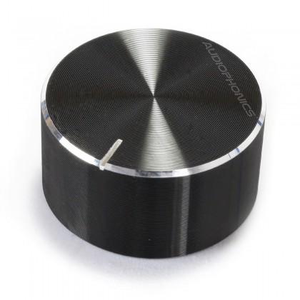 Knob Aluminium Notched Shaft 25x13mm Ø6mm Black