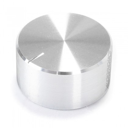 Knob Aluminium Notched Shaft 30x10mm Ø6mm Silver