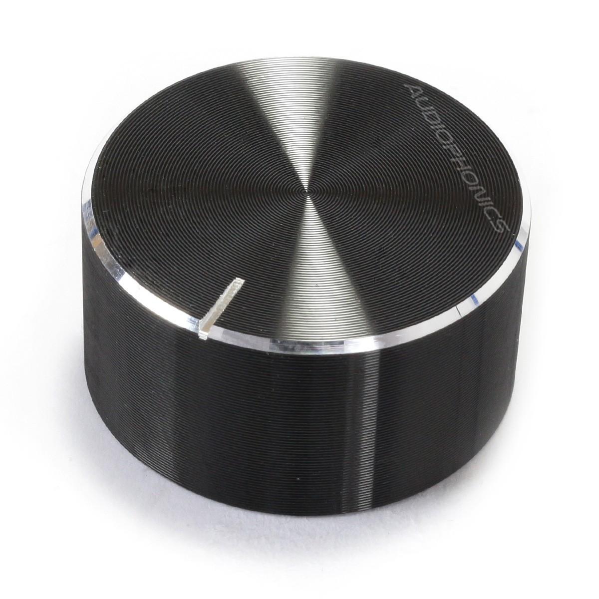 Bouton Aluminium Axe Cranté 30x10mm Ø6mm Noir