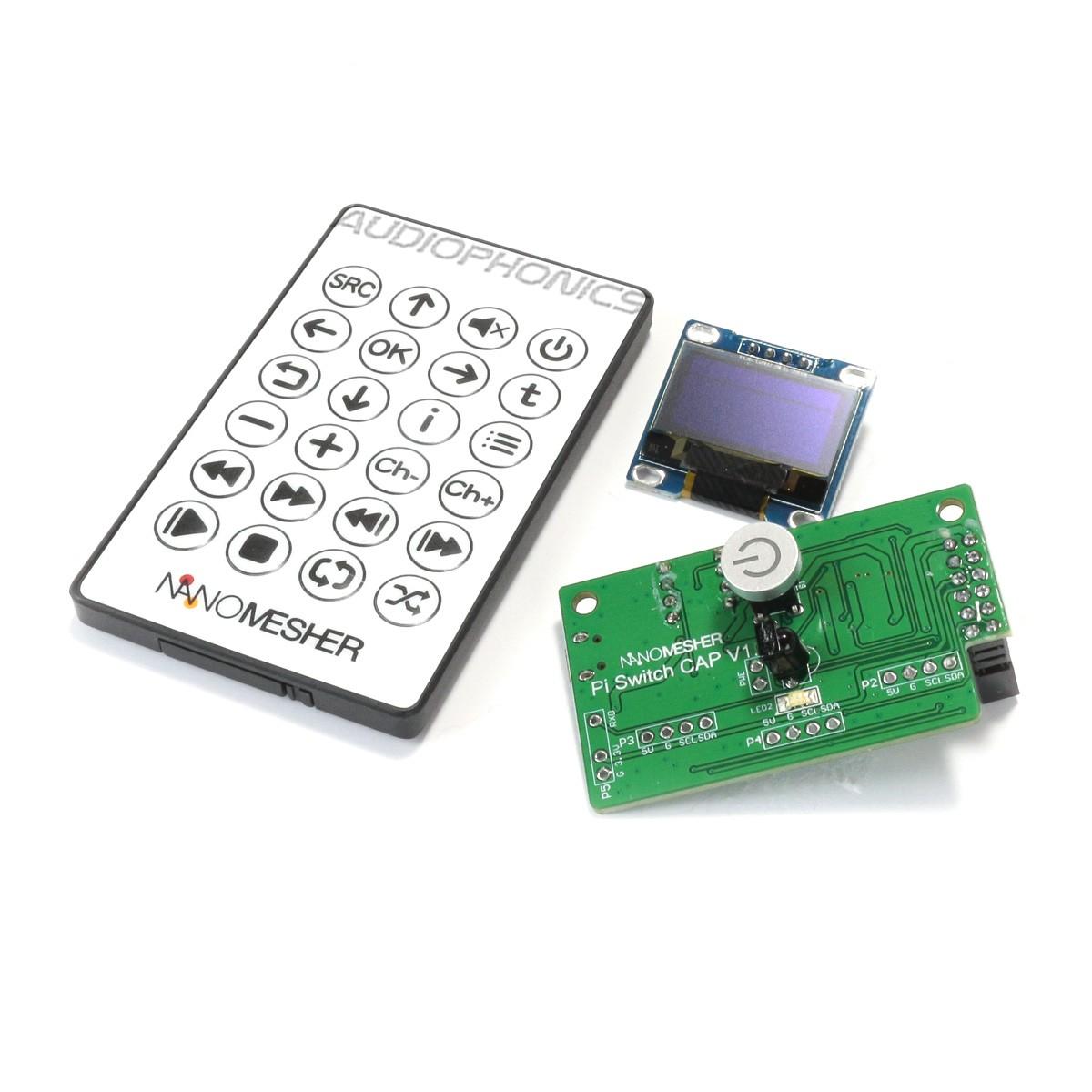 NANOSOUND PI SWITCH CAP Power Switch for Raspberry Pi with IR Remote Control and Screen