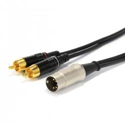 AUDIOPHONICS Câble DIN 5 Broches vers RCA Stéréo pour Bang & Olufsen Plaqué Or 1m