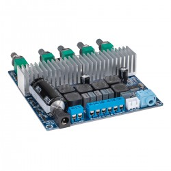 TPS3116D2 Amplifier Module Class D Bluetooth 4.0 2x50W + 100W with Filters and Volume Control