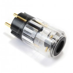 ELECAUDIO PS-24GC Prise Secteur Schuko Crystal Or 24K 3µ Ø16.5mm