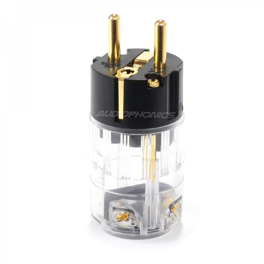 Elecaudio Ps 24gc Connector Schuko Crystal Gold 24k 3 165mm Electrical Wiring Prise Secteur Or