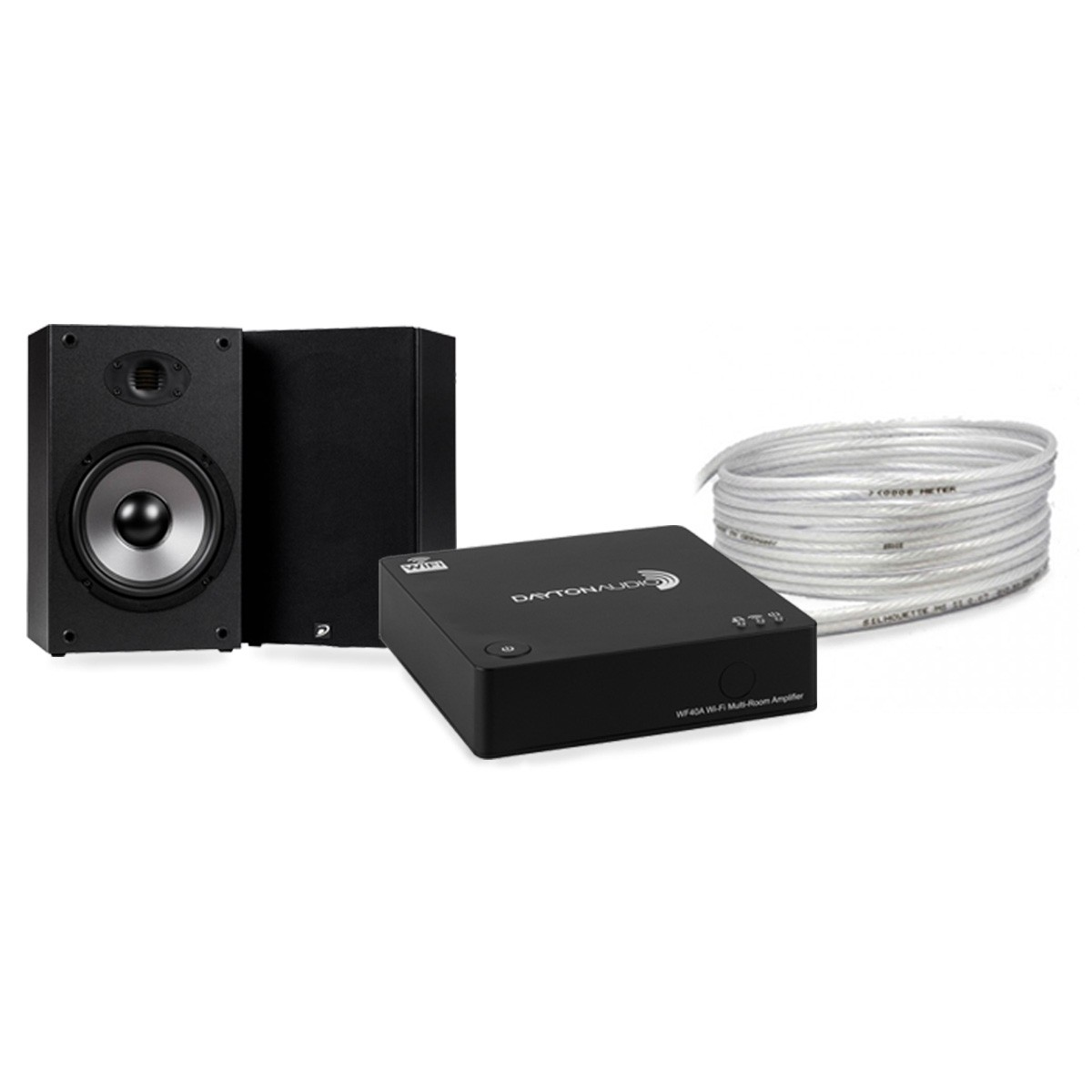 Pack DAYTON AUDIO WF40A Amplifier + DAYTON AUDIO B652 AIR Speakers + MEDIA-SUN SILHOUETTE MS2S Speaker Cable 4m